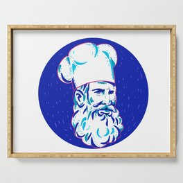 Angry Bearded Chef Circle Doodle Serving Tray