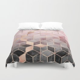 Pink And Grey Gradient Cubes Duvet Cover
