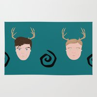true detective Area & Throw Rugs featuring Rust & Marty from True Detective by InQuadricromia