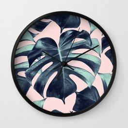 Tropical Monstera Leaves Dream #3 #tropical #decor #art #society6 Wall Clock