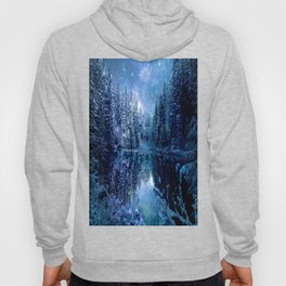 A Cold Winter's Night : Turquoise Teal Blue Winter Wonderland Hoody