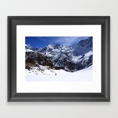 Hiker In Mountain Landscape Framed Art Print