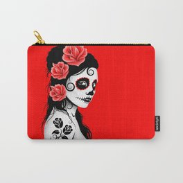 Red Day of the Dead Sugar Skull Girl Carry-All Pouch