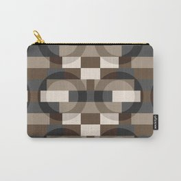 Color Blocks with Circles in Brown and Gray Carry-All Pouch