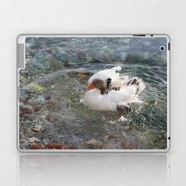 Duck Splashing Water Creating Ripples on Riverbank Laptop & iPad Skin