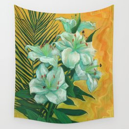 White Lilies and Palm Leaf Wall Tapestry