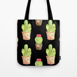 watercolor cacti on black background Tote Bag