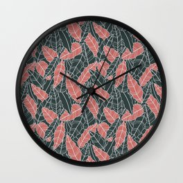 Leaves tropical art line pattern Wall Clock