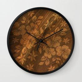 Lilikoi Hibiscus Hawaiian Textural Pareau Design Wall Clock