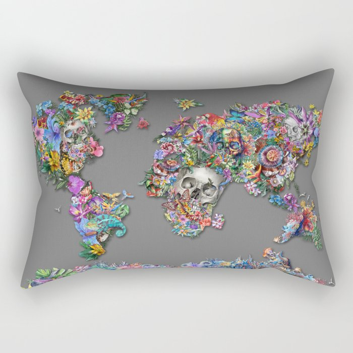 floral skull world map 1 Rectangular Pillow
