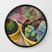 cacti Wall Clocks featuring Cacti by Emily Kenney