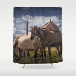 Western Horses in the Pasture by a Wooden Fence Shower Curtain