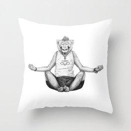 Monkey Yoga Throw Pillow