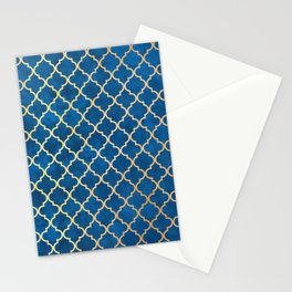 Blue and Gold Quatrefoil Art Deco Pattern Stationery Cards