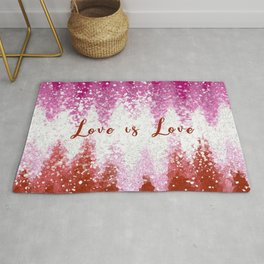 Love is Love LGBT Lesbian Pride Colors Abstract Rug