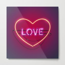 Pink Love in the Heart Neon Sign Metal Print