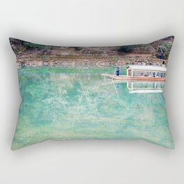 Riding Around Arashiyama, Boats and Trees Reflected in the Canals Rectangular Pillow