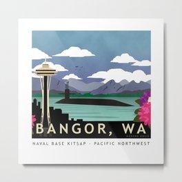 Bangor, WA - Retro Submarine Travel Poster Metal Print