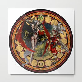 Final Fantasy III Stained Glass Drawing Metal Print
