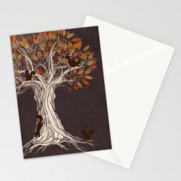 Little Visitors - Autumn tree illustration with squirrels Stationery Cards