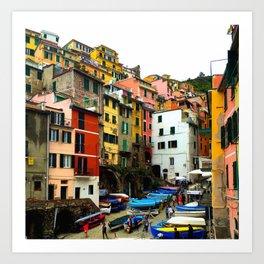 Cinque Terre Boats & Colorful Homes Art Print