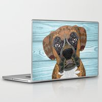 boxer Laptop & iPad Skins featuring Cute Boxer by ArtLovePassion