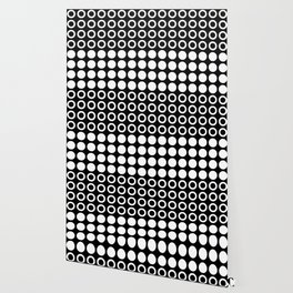 Mid Century Modern Circles And Dots Black & White Wallpaper