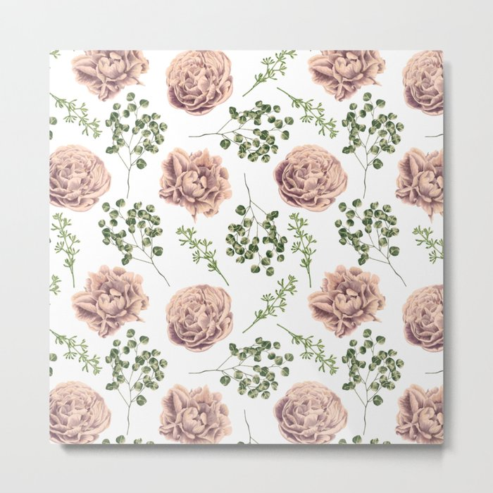 Roses Pattern on White Metal Print