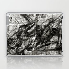 Breaking Loose - Charcoal on Newspaper Figure Drawing Laptop & iPad Skin