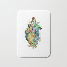 Flowers colorful heart watercolor Bath Mat