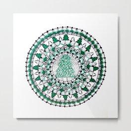 Green Holiday Tree Mandala Metal Print