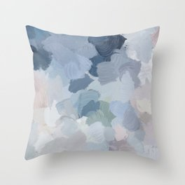 Navy Indigo Gray Blue Blush Pink Lavender Abstract Floral Spring Wall Art Throw Pillow
