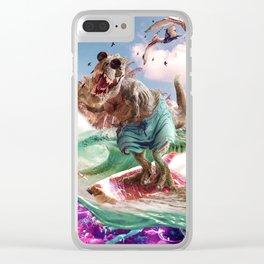 Dinosaur Surf T-Rex Surfing Clear iPhone Case