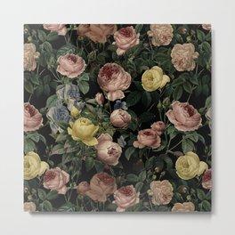 Vintage Roses and Iris Pattern - Dark Dreams Metal Print