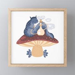 Blue caterpillar Framed Mini Art Print