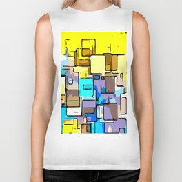 geometric graffiti square pattern abstract in yellow blue and brown Biker Tank