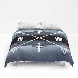 PNW Pacific Northwest Compass - Mt Hood Adventure Comforters