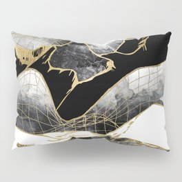 Minimal Black and Gold Mountains Pillow Sham