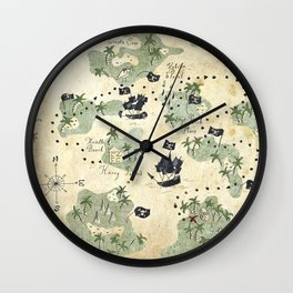 Hand Drawn Pirate Map Wall Clock