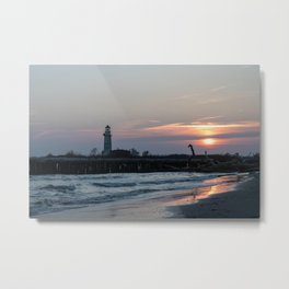 LightHouse Sunset in Italy Metal Print