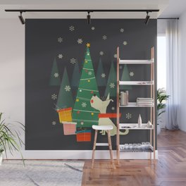 Little White Christmas Westie Wall Mural