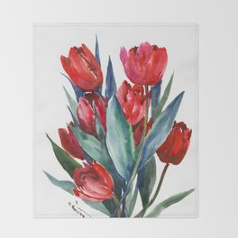 Red Tulips Floral Red,Turquoise Blue Artwork, garden tulips tulip lover design Throw Blanket