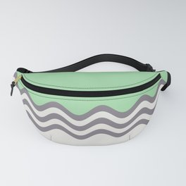 Pastel Green, Gray & Linen White Wavy Stripes 2 Pairs to Coloro 2020 Color of the Year Neo Mint Fanny Pack