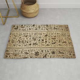 Ancient Egyptian hieroglyphs - Vintage and gold Rug