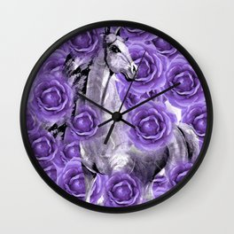 HORSES AND PURPLE ROSES AND HORSES Wall Clock