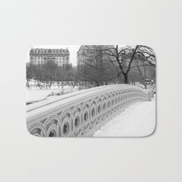 On Bow Bridge, B&W Photography Bath Mat