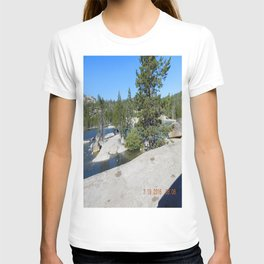 waterway, lakeside, trees, road trip T-shirt