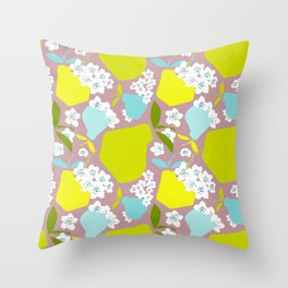 Pears + Pear Blossoms Throw Pillow