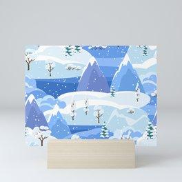 Winter Forest Snowfall Night Mountains Mini Art Print