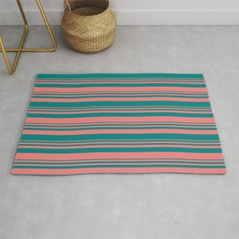 Light Coral and Teal Colored Lined Pattern Rug